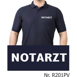 Polo navy, NOTARZT in weiß (Brustdruck)
