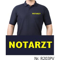 Polo navy, NOTARZT in neongelb (Brustdruck)