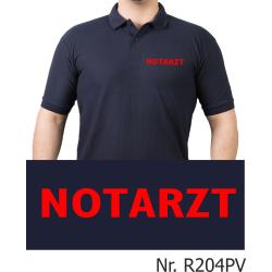 Polo navy, NOTARZT in rot (Brustdruck)