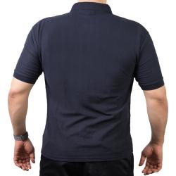 Polo navy, NOTARZT mit weißer EKG-Linie (Brustdruck)