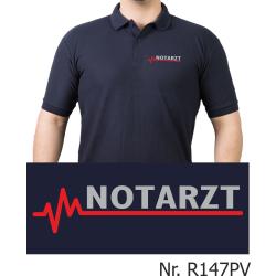 Polo navy, NOTARZT silber mit roter EKG-Linie (Brustdruck)