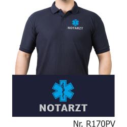 Polo navy, NOTARZT silber mit blauem Star-of-Life...
