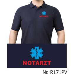 Polo navy, NOTARZT rot mit blauem Star-of-Life (Brustdruck)
