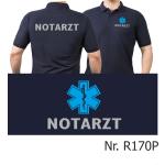 Polo navy, NOTARZT silber mit blauem Star-of-Life auf Brust