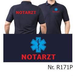 Polo azul marino, Doctor de emergencias rojo con blau...