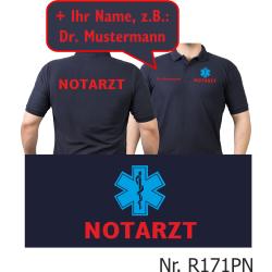 Polo blu navy, medico di emergenza rosso con blau...