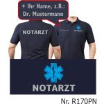 Polo navy, NOTARZT silber mit blauem Star-of-Life und Namen