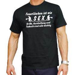 """T-Shirt noir, """"Feuerlöschdans ist wie Sex,..."""