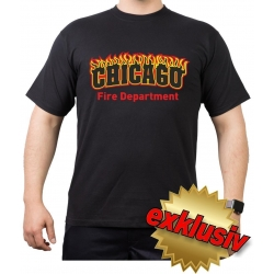 CHICAGO Fire Department- flames, black T-Shirt