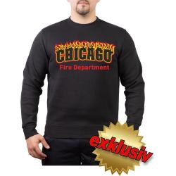 CHICAGO FIRE Dept. flames, negro Sweat
