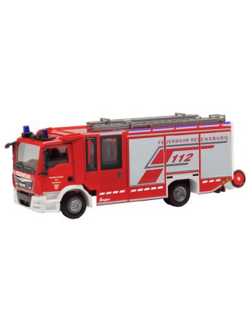 Model car 1:87 MAN TGL, Ziegler Z-Cab, HLF, BF Regensburg (BAY)