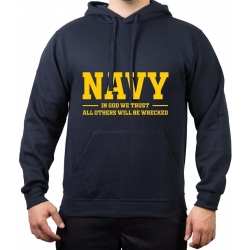Hoodie NAVY, In God We trust, All Others Will Be Wrecked