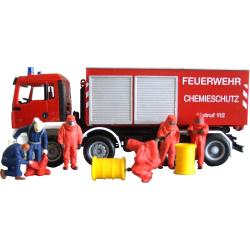Equipment 1:87 Feuerwehrmänner with red Vollschutzanzug
