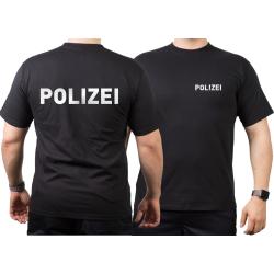 T-Shirt nero, POLIZEI nel argento-riflettente