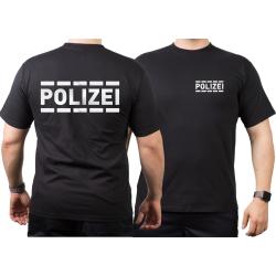 T-Shirt nero, POLIZEI nel argento-riflettente con...