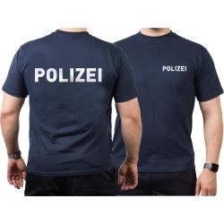 T-Shirt blu navy, POLIZEI nel argento-riflettente