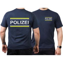 T-Shirt blu navy, POLIZEI argento-riflettente/neongiallo...