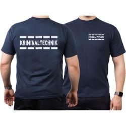 T-Shirt blu navy, KRIMINALTECHNIK nel argento-riflettente...