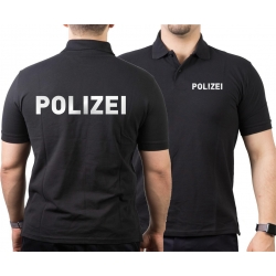 Polo black, POLIZEI in silver-reflective