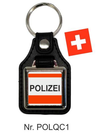 Schlüsselanhänger quadratisch miit Lederunterteil POLIZEI Schweiz rot/weiss/schwarz
