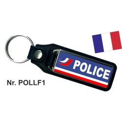 Porte-clés XL avec du cuir POLICE-NATIONALE