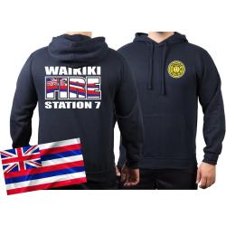 Hoodie navy, Honolulu Fire Dept. (Hawaii) (silber-neongelb)