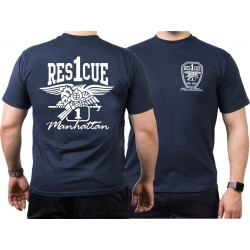 T-Shirt navy, Rescue1 Manhattan - Eagle, white