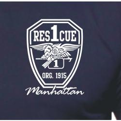 T-Shirt navy, Rescue1 Manhattan - Eagle, white