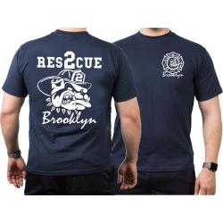 T-Shirt navy, Rescue2 fire fighting bulldog, white
