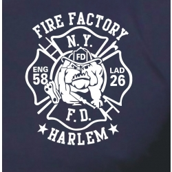 T-Shirt navy, New York City Fire Dept.Fire Factory Harlem...