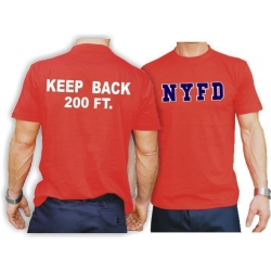 T-Shirt red, NYC Fire Dept., Keep Back 200 feet