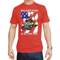 T-Shirt rot, New York City Fire Dept. 9-11 We Will Never...