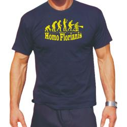 """T-Shirt navy, """"Homo Florianis"""" in neongelb"""