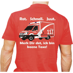 "T-Shirt red, Feuerwehr: ""Ick bin keene Taxe""..."