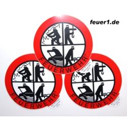 Feuerwehr- Sticker Außen RUND