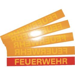 """Aufkleber """"FEUERWEHR"""" rot mit gelber Schrift..."""