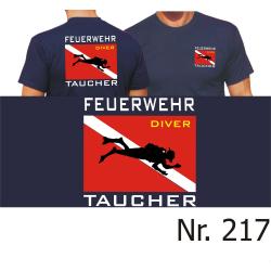 """T-Shirt marin, """"Feuerwehr Taucher"""" avec Diver..."""