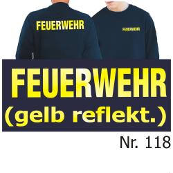 Sweat navy, FEUERWEHR gelb-reflektierende Schrift (XS-3XL)