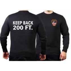Sweat black, KEEP BACK 200 FT. with Emblem NYC Fire Dept.