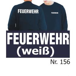Sweat navy, FEUERWEHR in weiß (XS-3XL)