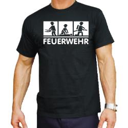 T-Shirt black, FEUERWEHR 3 Motive: TH, EH und...