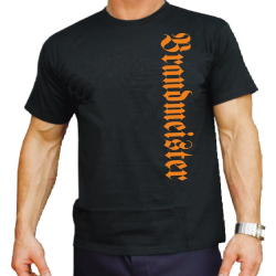 T-Shirt black, Brandmeister, vertikal in orange XXL