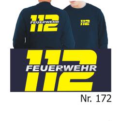 Sweat navy, 112 mit FEUERWEHR, neongelb/silber (XS-3XL)