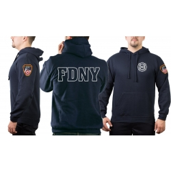 Hoodie navy, New York City Fire Dept. (outline) 343 with...