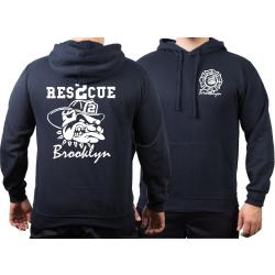 Hoodie navy, Rescue 2 Brooklyn with fighting bulldog in...