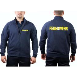Sweatjacke navy, FEUERWEHR in gelb-reflektierend