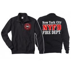 Sweat jacket navy, New York City Fire Dept.- 343, white/red