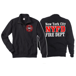 Sweatjacke navy, New York City Fire Dept.- 343, weiss/rot  L