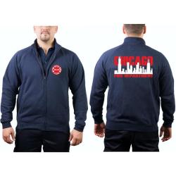 CHICAGO FIRE Dept. Sweat jacket navy, with zweifarbiger...