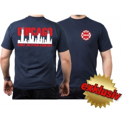 CHICAGO FIRE Dept. Skyline bicolor, navy T-Shirt